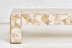 Karl Springer Karl Springer Brass and Tessellated Travertine Coffee Table 1970 - 1793114