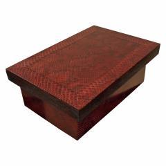 Karl Springer Karl Springer Burgundy Python Lidded Box 1980s - 969064