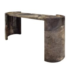 Karl Springer Karl Springer Console Table In Dark Brown Lacquered Goat Skin 1980 - 1317946