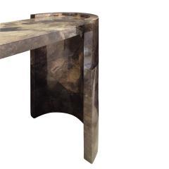 Karl Springer Karl Springer Console Table In Dark Brown Lacquered Goat Skin 1980 - 1317949