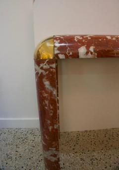 Karl Springer Karl Springer Console Table in Breccia Marble Brass and Smoke Glass - 1150179
