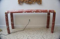 Karl Springer Karl Springer Console Table in Breccia Marble Brass and Smoke Glass - 1150182