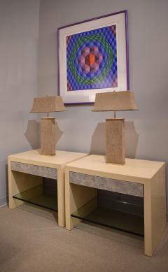 Karl Springer Karl Springer Elegant Pair Of Table Lamps In Brass And Beige Suede 1970s - 1281101