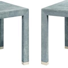 Karl Springer Karl Springer End Tables in Shagreen with Bone Inlays 1980s Signed  - 2121084