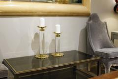 Karl Springer Karl Springer Exceptional Pair of Candle Holders in Lucite and Brass 1970s - 960778
