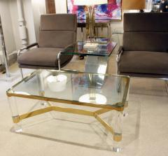 Karl Springer Karl Springer Exceptional Round Leg Lucite Coffee Table 1980s signed  - 1124259