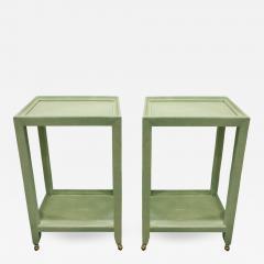 Karl Springer Karl Springer Extraordinary Pair of Telephone Tables in Mint Shagreen 2002 - 567523