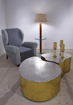 Karl Springer Karl Springer Floor Lamp In Suede And Chrome with Glass Table 1970s - 1525282