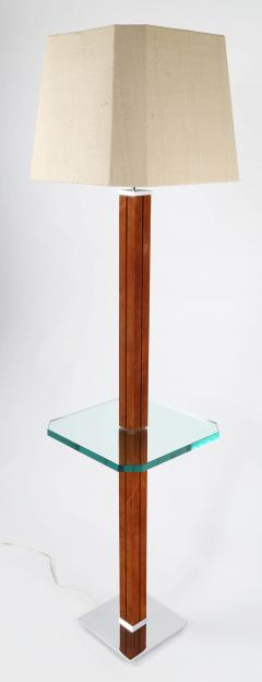 Karl Springer Karl Springer Floor Lamp In Suede And Chrome with Glass Table 1970s - 1525284