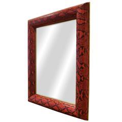 Karl Springer Karl Springer Half Round Molding Mirror in Red Python 1980s Signed  - 2062929