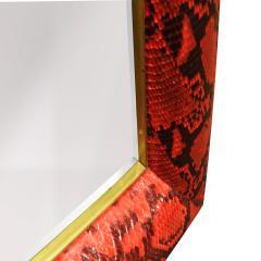 Karl Springer Karl Springer Half Round Molding Mirror in Red Python 1980s Signed  - 2062930