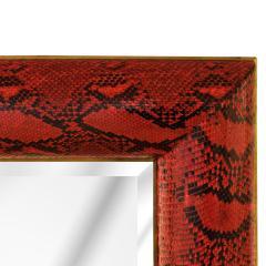 Karl Springer Karl Springer Half Round Molding Mirror in Red Python 1980s Signed  - 2062931