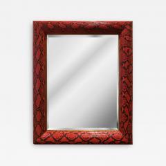 Karl Springer Karl Springer Half Round Molding Mirror in Red Python 1980s Signed  - 2064733