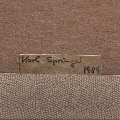 Karl Springer Karl Springer Hexagonal Side Table in Embossed Lizard 1989 Signed  - 2130008