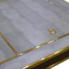 Karl Springer Karl Springer Incredible Square Leg Game Table in Gunmetal and Brass 1970s - 1923401