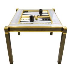 Karl Springer Karl Springer Incredible Square Leg Game Table in Gunmetal and Brass 1970s - 1923404