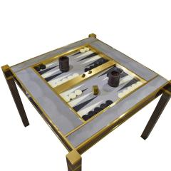 Karl Springer Karl Springer Incredible Square Leg Game Table in Gunmetal and Brass 1970s - 1923407