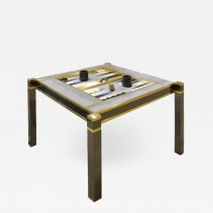 Karl Springer Karl Springer Incredible Square Leg Game Table in Gunmetal and Brass 1970s - 1923749