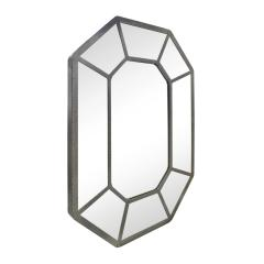 Karl Springer Karl Springer Large Hand Crafted Octagonal Mirror In Lacquered Linen 1970s - 1280409