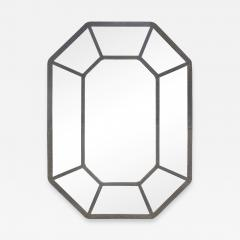 Karl Springer Karl Springer Large Hand Crafted Octagonal Mirror In Lacquered Linen 1970s - 1289839