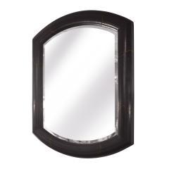 Karl Springer Karl Springer Large Marmol Style Mirror in Leather and Bronze 1980s Signed  - 2062750