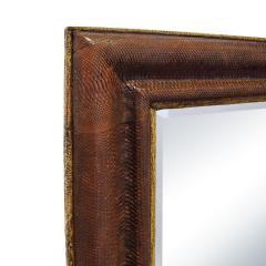 Karl Springer Karl Springer Large Wall Hanging Mirror In Python and Buffalo Skin 1987 Signed  - 1756390