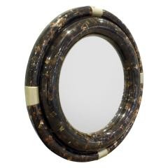 Karl Springer Karl Springer Large Wall Hanging Mirror in Tessellated Horn 1970s - 939149