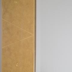 Karl Springer Karl Springer Octagonal Mirror in Shagreen Lacquer with Brass Accents 1980s - 1950721