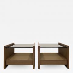 Karl Springer Karl Springer Pair Of Bedside Tables in Emu Leather And Bronze Glass Tops 1980s - 1160756