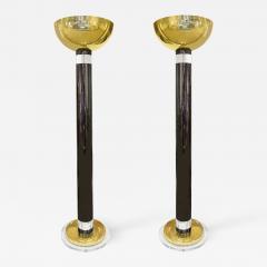 Karl Springer Karl Springer Pair of Exceptional Torcheres in Gunmetal Brass and Lucite 1980s - 1642875