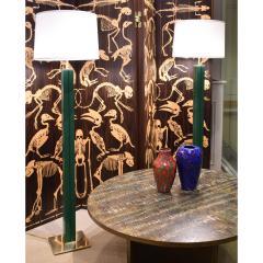 Karl Springer Karl Springer Pair of Floor Lamps in Green Emu Leather 1970s - 2068392