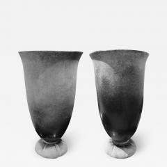 Karl Springer Karl Springer Pair of Monumental Hand Blown Scavo Glass Urns 1980s Signed  - 1742126