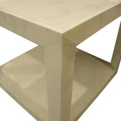 Karl Springer Karl Springer Pair of Triangular Leg End Tables in Lacquered Goatskin 1984 - 1083245
