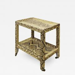 Karl Springer Karl Springer Python Telephone Table with Bronze Castors 1970s - 1953396