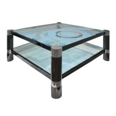 Karl Springer Karl Springer Round Leg Coffee Table with Artisan Etched Glass 1980s Signed  - 1938811