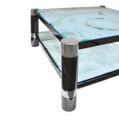 Karl Springer Karl Springer Round Leg Coffee Table with Artisan Etched Glass 1980s Signed  - 1938812