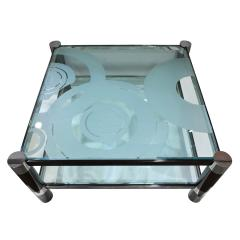Karl Springer Karl Springer Round Leg Coffee Table with Artisan Etched Glass 1980s Signed  - 1938817
