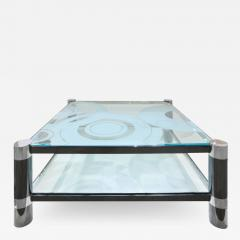 Karl Springer Karl Springer Round Leg Coffee Table with Artisan Etched Glass 1980s Signed  - 1940490