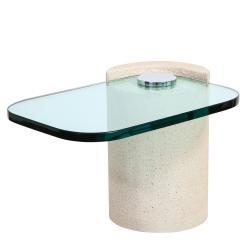 Karl Springer Karl Springer Sculpture Tables in Sandstone and Glass 1980s - 2124034