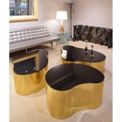 Karl Springer Karl Springer Set of 3 Free Form Coffee Tables in Polished Brass 1980s - 2139651