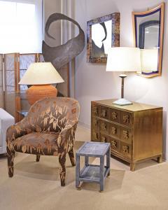 Karl Springer Karl Springer Shagreen Telephone Table with Brass Castors 1980s Signed  - 2007309