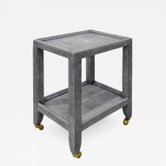Karl Springer Karl Springer Shagreen Telephone Table with Brass Castors 1980s Signed  - 2010129