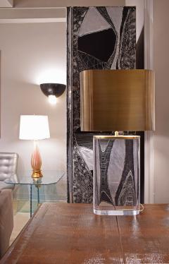 Karl Springer Karl Springer Table Lamp in Solid Lucite with Bronze Shade 1970s - 1628940