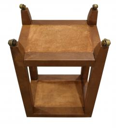 Karl Springer Karl Springer Telephone Table Style End Table in Leather and Shagreen 1980s - 2073623