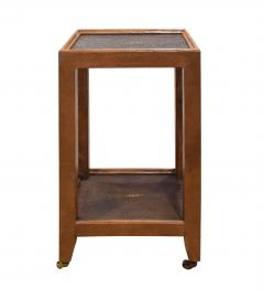 Karl Springer Karl Springer Telephone Table Style End Table in Leather and Shagreen 1980s - 2073624