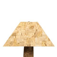 Karl Springer Karl Springer Tessellated Travertine J M F Floor Lamp with Matching Shade 1980s - 2121300
