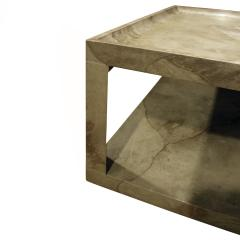 Karl Springer Karl Springer Triangular Leg Coffee End Table in Goat Skin 1970s - 1068582