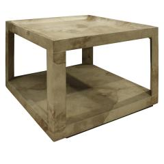 Karl Springer Karl Springer Triangular Leg Coffee End Table in Goat Skin 1970s - 1068584