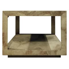 Karl Springer Karl Springer Triangular Leg Coffee End Table in Goat Skin 1970s - 1068585