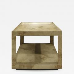 Karl Springer Karl Springer Triangular Leg Coffee End Table in Goat Skin 1970s - 1069061